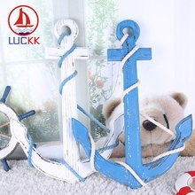 LUCKK 60CM Creative Wooden Ship Anchor Model With Hemp Rope Winding 2 Color Wall Hanging Vintage Home Decoration Crafts Toys