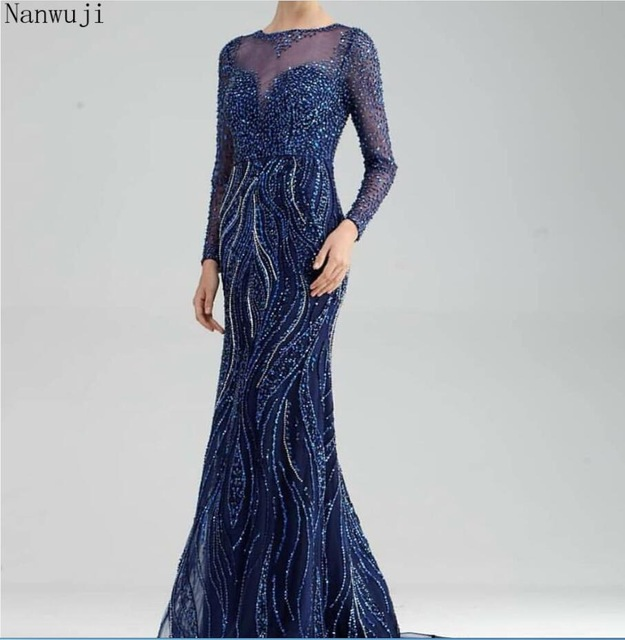 In stock New High neck Sexy Mermaid Evening Dresses With Long Sleeve 2018 Full Crystal Navy Blue Fashion Elegant Evening Gowns(China)