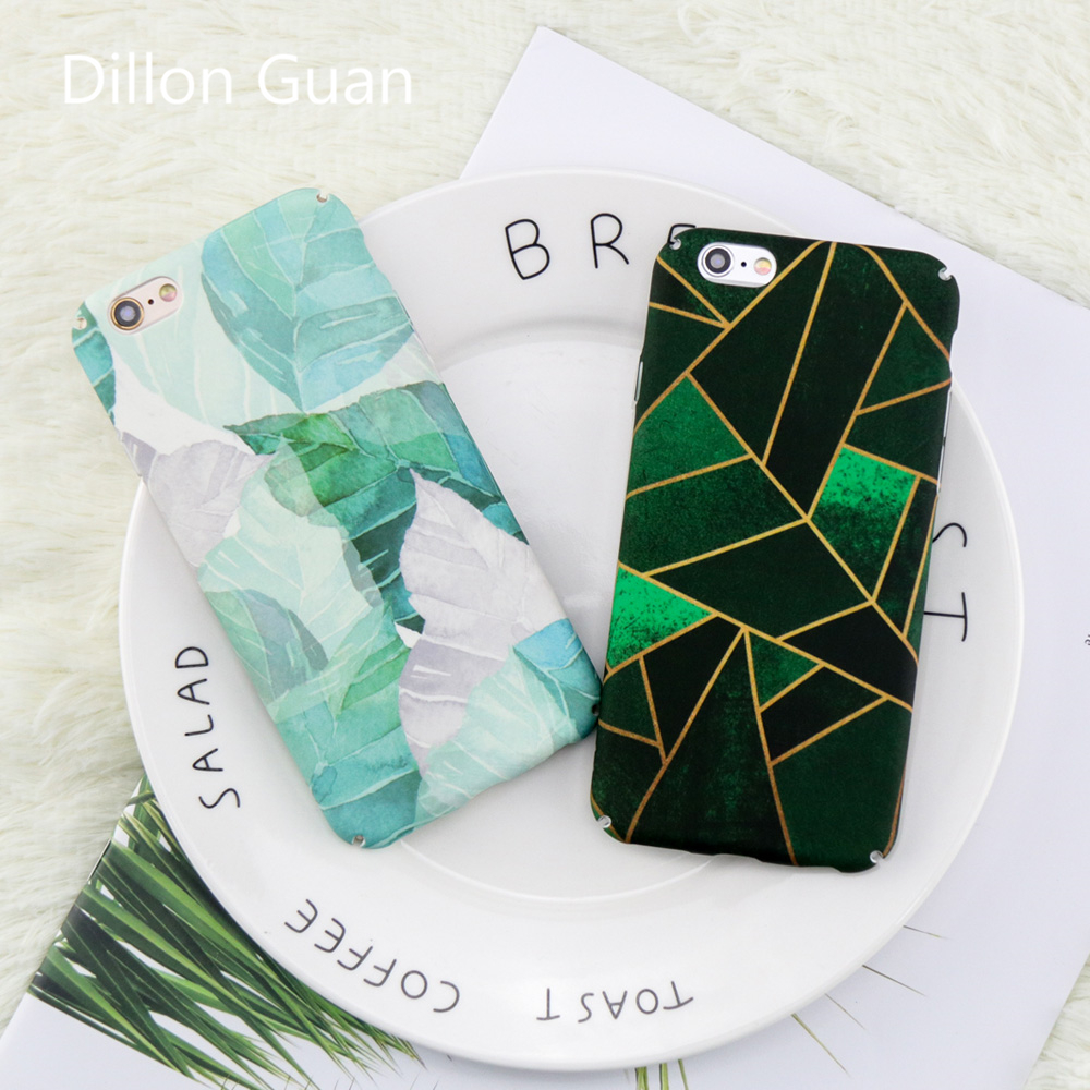 For iphone 6 case Geometric Graphic Pattern case for iphone 7 case DILLON GUAN Retro Plants Leaf PC Cover Capa for iphone 8 case