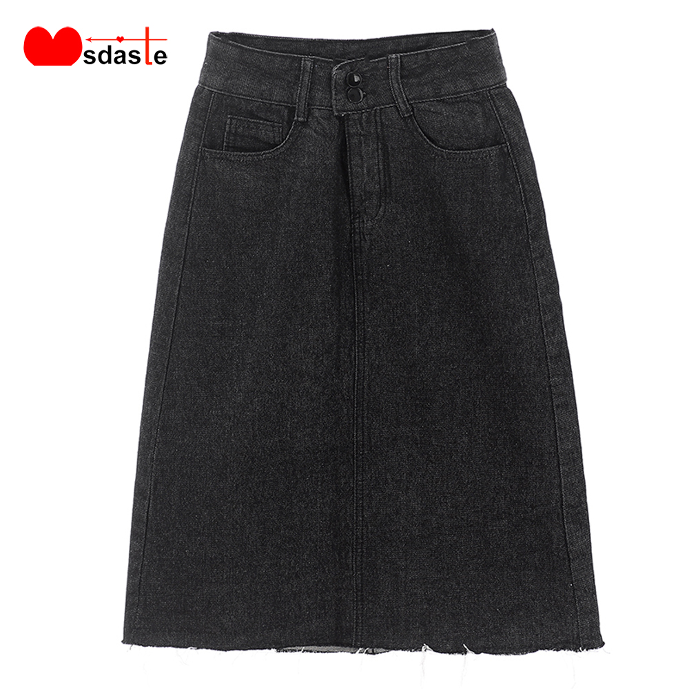 Women Denim Skirt 2019 New Arrival Summer Autumn Plus Size Female Jeans Bottom High Waist A-Line Ladies Casual Black Jean Skirts(China)