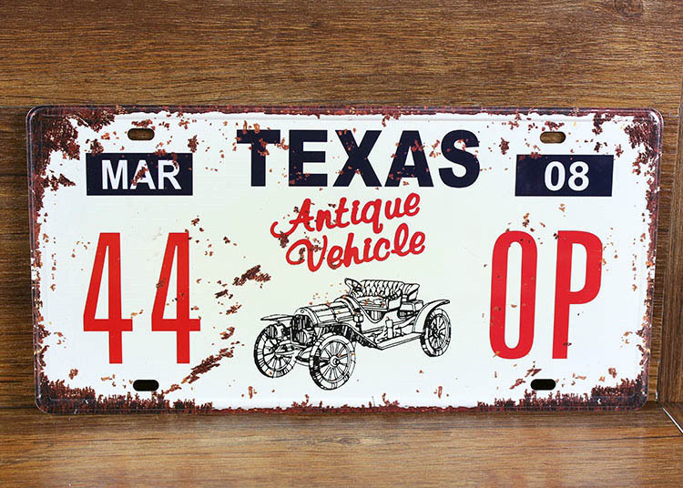UA-CP-00178 New metal painting vintage tin signs License car number 44-0P texas  cafe pub wall art craft decor 30*15 CM