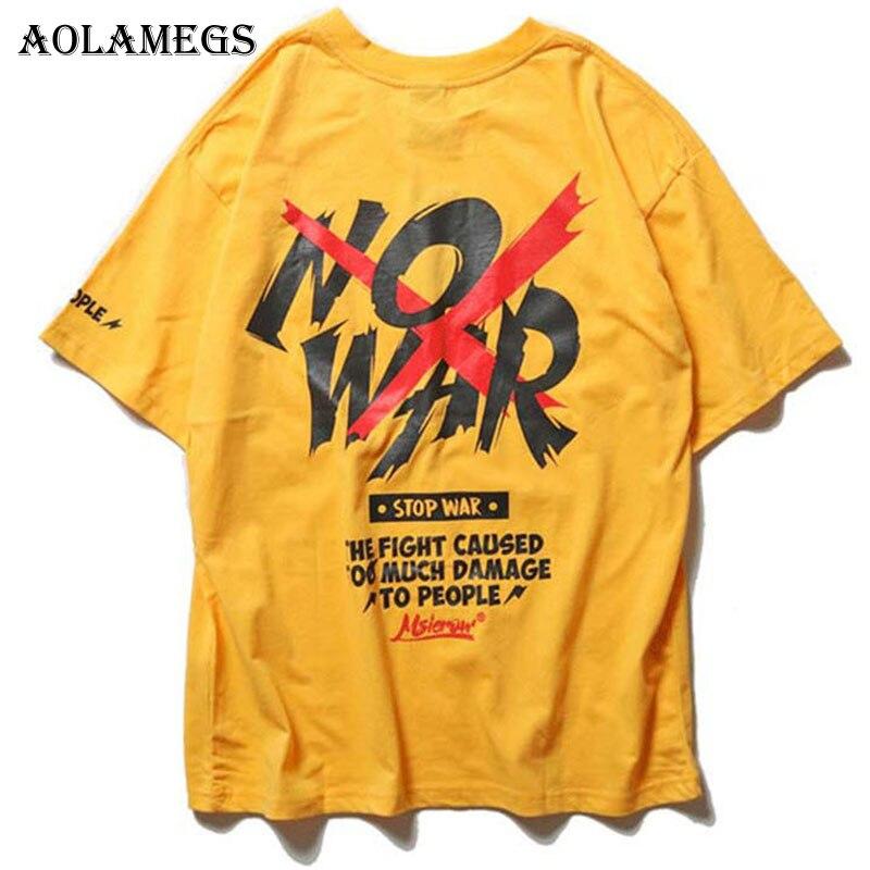 Aolamegs T Shirt hombres ninguna guerra impreso hombres Camisetas manga corta o-cuello camiseta suelta algodón calle streetwear 2018