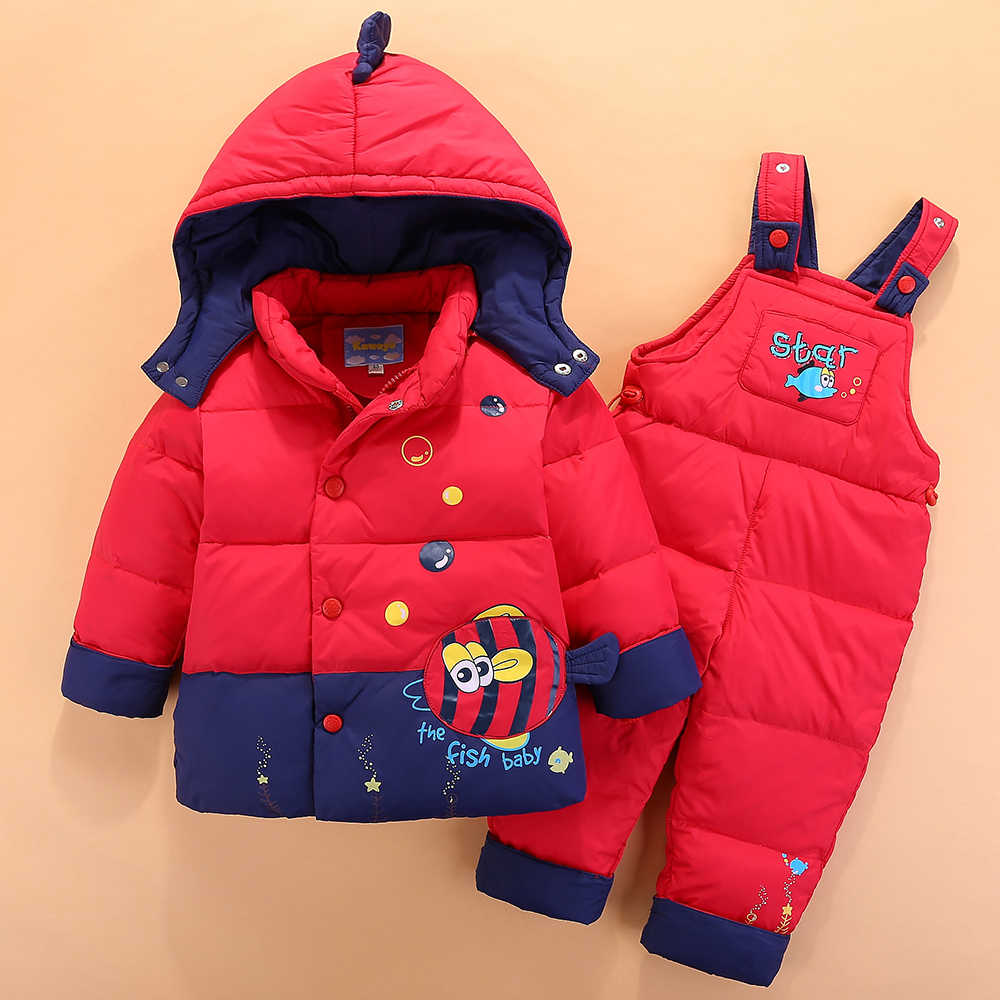 2bad25926 ... Russian Winter Children's Clothing Set Overalls For Baby Girls Boys Down  Coat Warm Snowsuits Jackets+ ...
