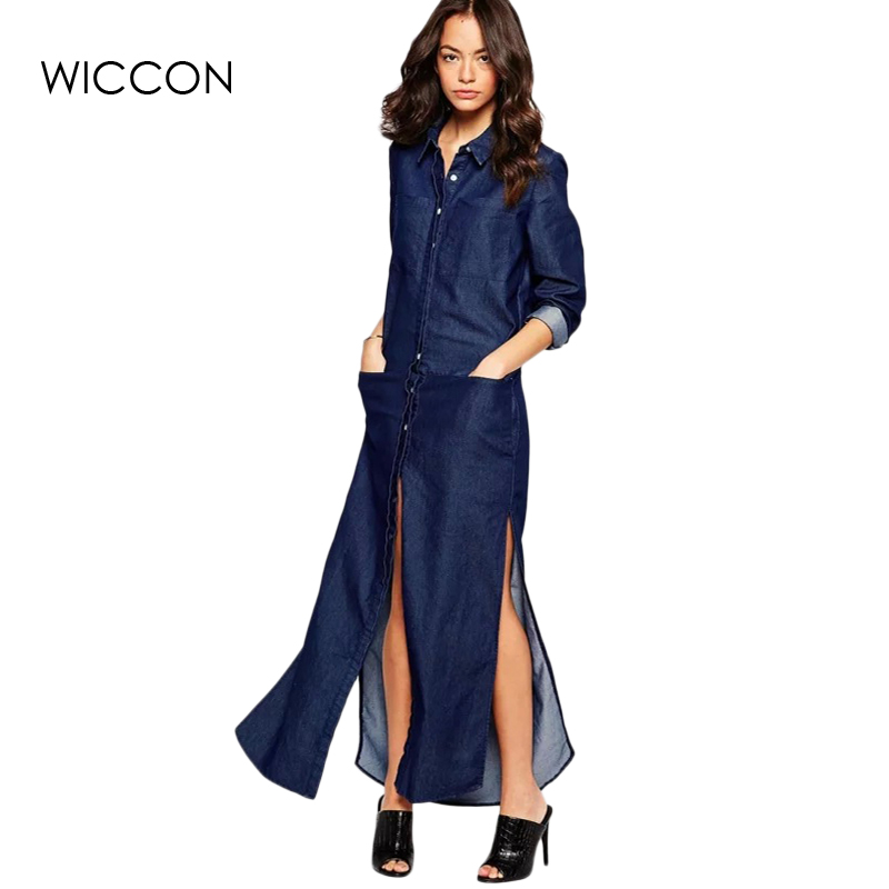 2018 Summer Autumn Denim T Shirt Dress Women Maxi Long