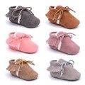2016 Новый прибыл Pu замши 2 слой Кисточкой мокасины детские Новорожденного ребенка сапоги детские первые шаг обувь