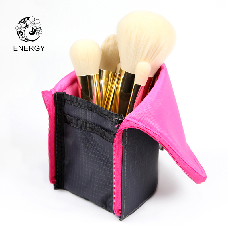 ENERGY Brand 7pcs Makeup Brush Set Copper Handle Make Up Brushes + Bag Pincel Maquiagem Brochas Maquillaje Pinceaux Maquillage цена 2017
