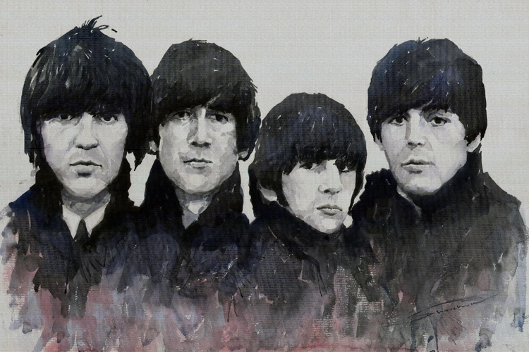 portrait canvas painting figure print watercolor masterpiece giant poster decor printing on canvas room The beatles