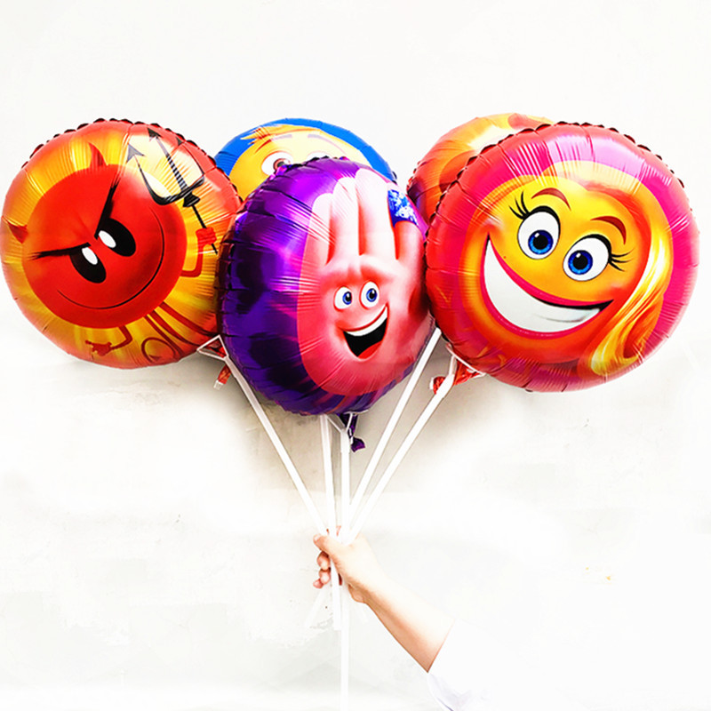 KUWANLE 10pcs/lot 18inch Emoji Birthday Party Supplies Wedding Party Decoration Foil Balloon Smile Face Expression Air Globos