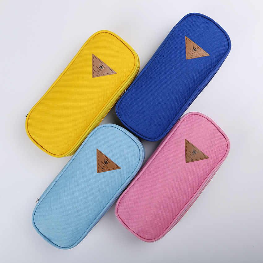 1PC קוריאני מכתבים פשוט סגנון צבעים בוהקים בד גדול קיבולת תכליתי מכתבים צדפה קלמר