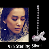 Cute 925 Sterling Silver Micro Paved Cubic Zircon Goldfish Earrings Party Bijoux Bridal Brincos Jewelry