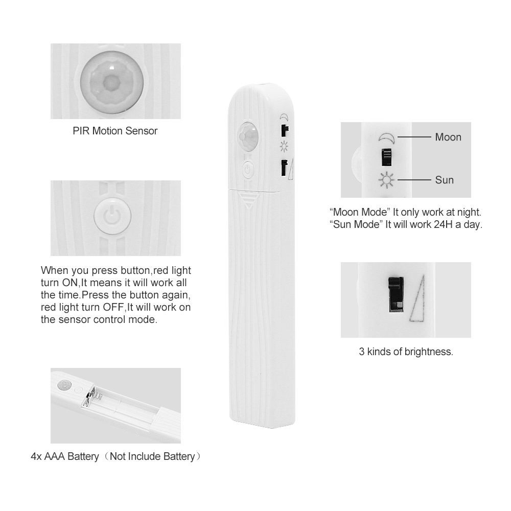 ANBLUB 1M 2M 3M Wireless Motion Sensor LED Strip Night light Battery Powered Under Bed lamp ANBLUB 1M 2M 3M Wireless Motion Sensor LED Strip Night light Battery Powered Under Bed lamp For Closet Wardrobe Cabinet Stairs