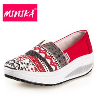 MINIKA Chinese Embroidery Winds Women Casual Shoes Fashion Walking Durable Mixed Colors Canvas Shoes Women Flats