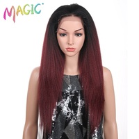 Magic 26 Inch Free Part Natural Long Yaki Straight Black Red High Temperature Fiber Synthetic Lace Front Wig For Black Women