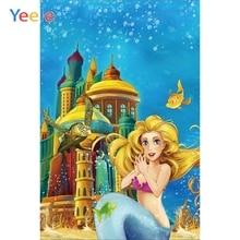 Yeele Vinyl Castle Seabed Mermaid Children Birthday Party Photograph Backdrop Girl Princess Photocall Background Photo Studio
