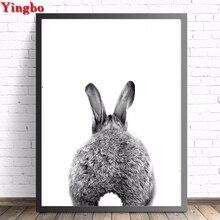 5D DIY square/round Diamond Painting animal rabbit Cross Stitch rhinestones painting diamond Embroidery Black and white wall art