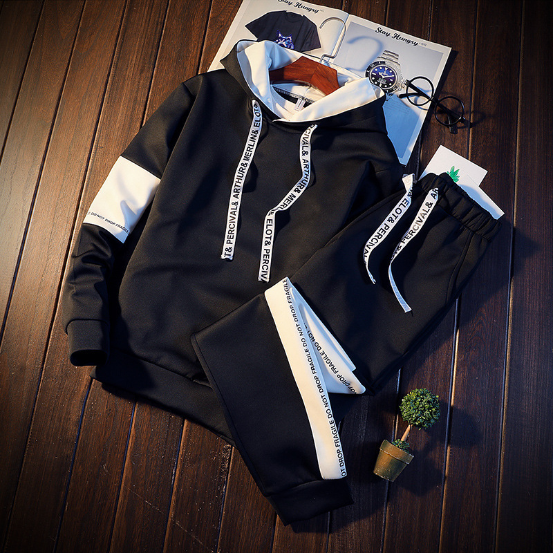 2019Brand Tracksuit Men Quality Spring Men Sporting Hooded Hoodie + Pants Two Piece Sweat Set Jogger Track Suit For Men Clothes