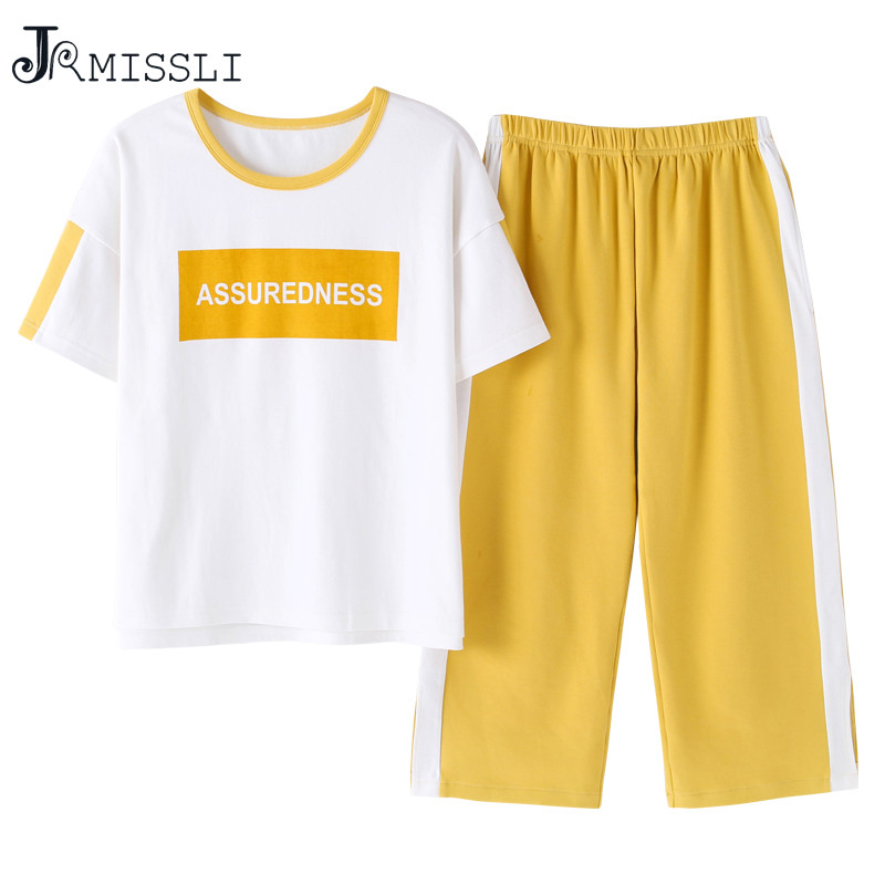 JRMISSLI Plus Size Letter Print Top And Pants   Pajamas     sets   For Women 2019 Casual Summer Cotton Nightwear Calf-Length Pants