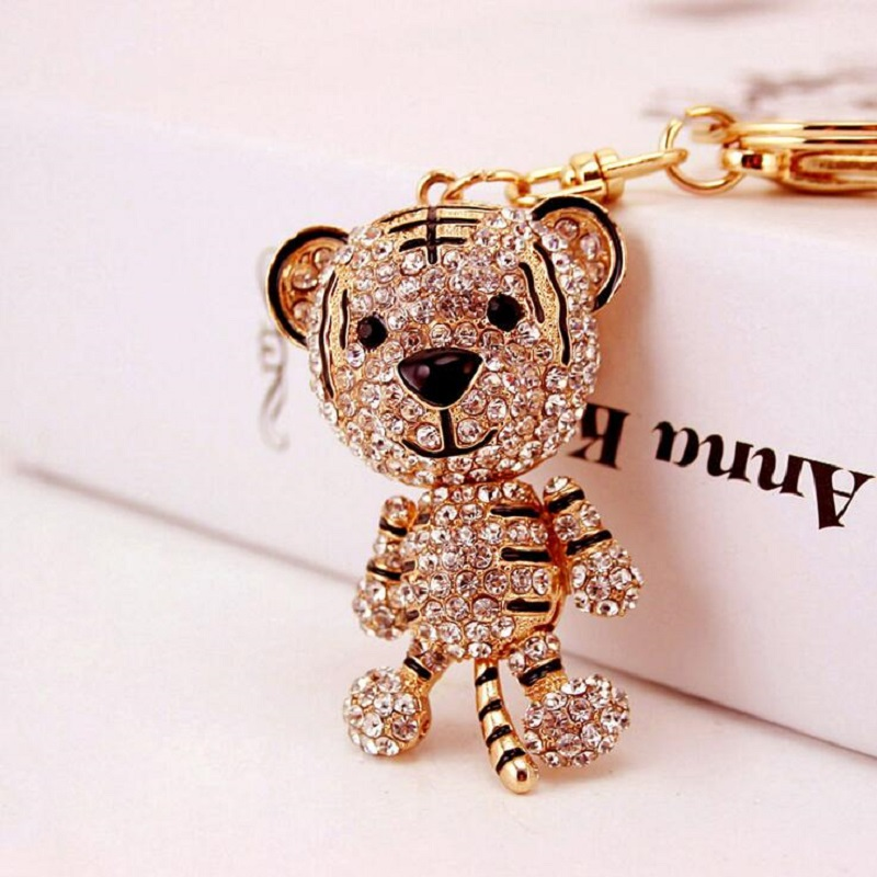 Cute little tiger Crystal Rhinestone font b keychain b font keyring car key chain pendant handbag