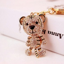 Cute little tiger Crystal Rhinestone keychain keyring car key chain pendant handbag Charm Accessories creative gifts