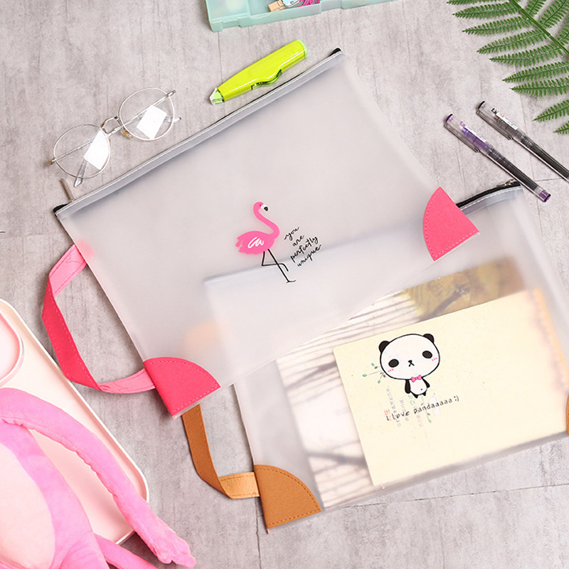 Big Small Cute A4 A5 Document Bag File Holder Kawaii Transparent Pvc Animal Flamingo Handle Storage Student School Office Supply