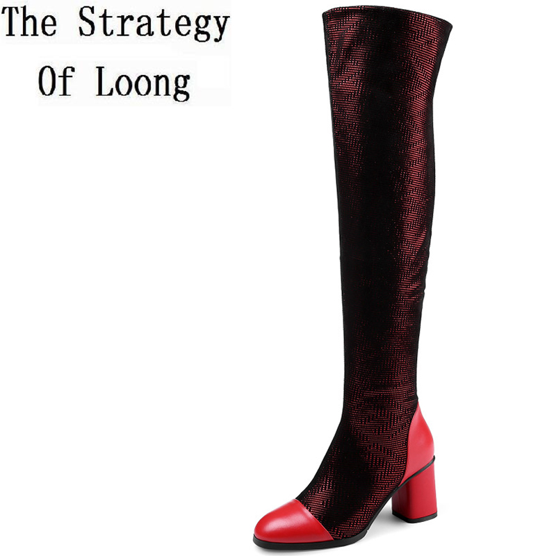 Full Grain Leather Square Heels Short Plush Thick Warm Winter Knee High Boots Genuine Leather Fashion Big Size 42 Lady Boots 7 women leather short plush thick warm snow knee high boots fashion high heels lady knight boots new arrival big size boots