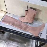Роскошные Разноцветные Женские Сапоги выше колена со стразами, натуральная замша, кожа, круглый носок, низкий каблук, повседневная обувь, же