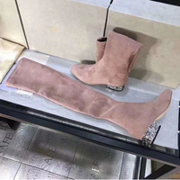 Роскошные разноцветными стразами женские ботфорты выше колена природа замши круглый носок повседневная обувь на низком каблуке Для женщин