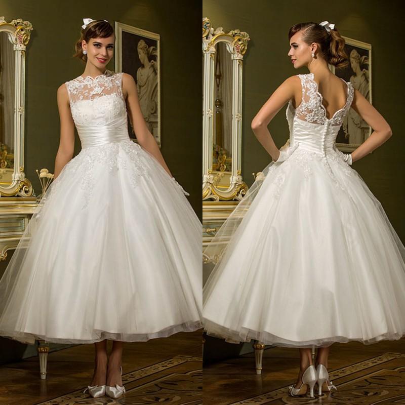 Elegant Wedding Ball Gowns: Elegant Lace Appliques Wedding Dresses Tea Length Backless