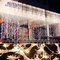 8*4m Christmas LED Curtain String Lights lamps New Year Decoration Garland Chandelier Wedding garden luminaria outdoor lighting