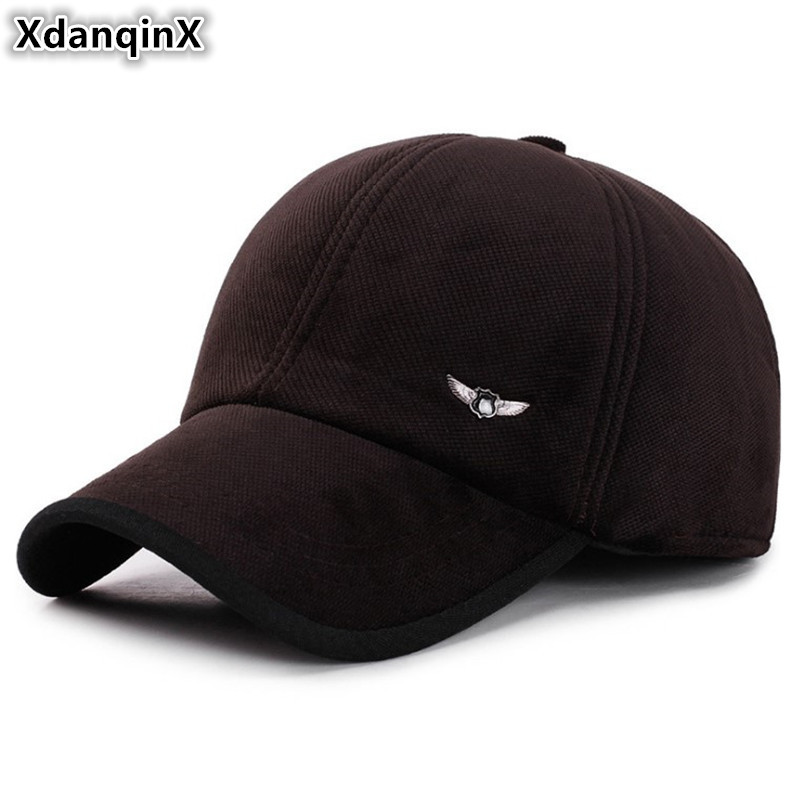 XdanqinX Winter Men's Hat Earmuffs Warm Baseball Caps For Men Snapback Cap Adjustable Size Simple Brands Tongue Cap Dad's Hats