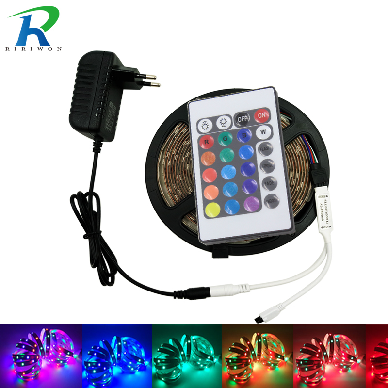 5m 10m RGB Led Strip Light SMD 2835 DC12V Dream Color 3528 LED Strip Flexible Light Diode Tape Full set With Adapter Controller led strip light 2835 smd rgb led tape 3528 led flexible strip 5m 10m waterproof lamp ribbon remote controller dc12v power supply