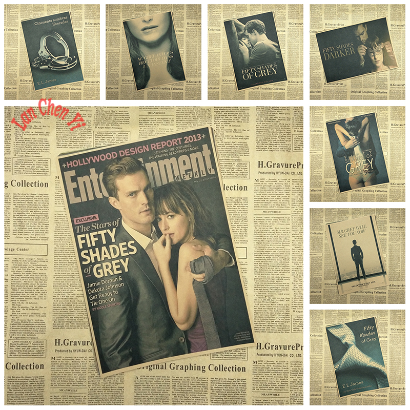 Affectional film Fifty Shades of Grey Kraft Paper Poster Bar Cafe Vintage High quality Printing Drawing core Decorative Painting