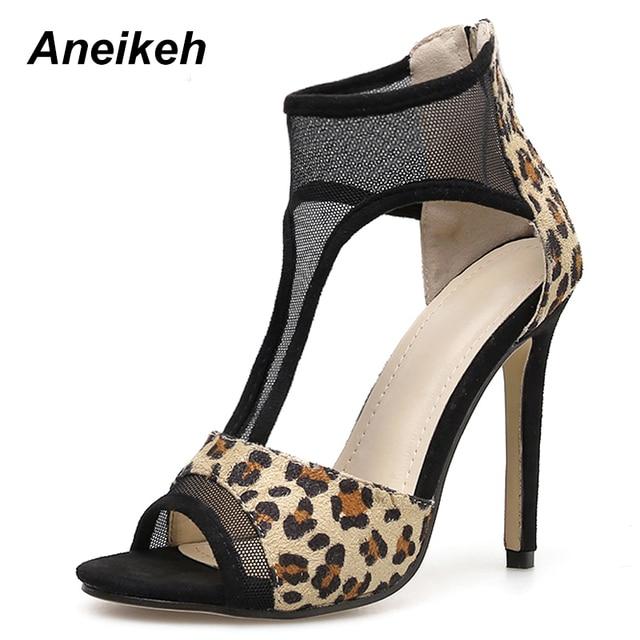ec6cddc9eca58 Aneikeh 2019 New Leopard Print Shoes Women Sandals Sexy Open Toe Gladiator  High Heels Women Pumps