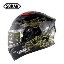 Chinese Immortal Pattern Helmet SOMAN 960 Double Visors Motorbike Cycling Capacete Racing Motorcycle Full Face Helmets цена и фото