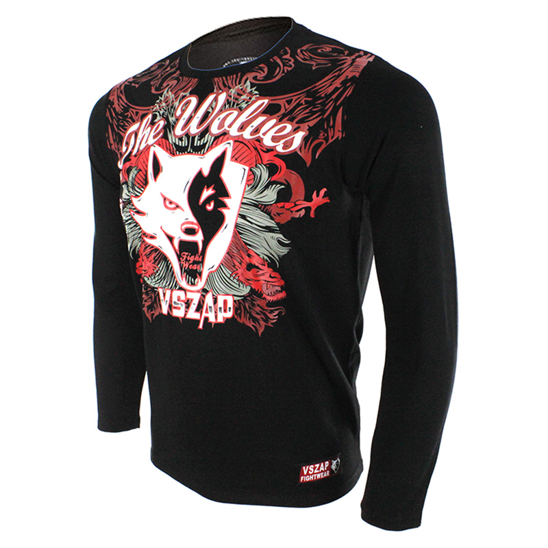 Men's Long Sleeve Fightwear Running MMA Shirts Customs Workout Shirt Mma Jerseys VSZAP THE WOLVES