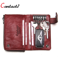 CONTACT S Genuine Leather Women Wallets Female Passport Cover Coin Purse Card Holder Short Men Wallet