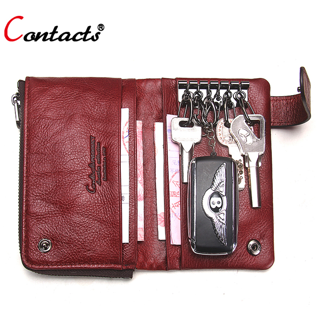 CONTACT S Genuine Leather Key Wallet Women Key Holder Wallet Men Coin Purse  Keychain Wallet Card Car Key Case bag key organizer 2fdcb21f6a