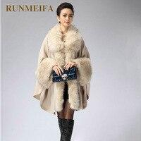 RUNMEIFA Autumn Winter New Women's Long Knitted Cardigan Sweater Fashion Fake Fox Fur Cashmere Shawl Cape Coat Poncho Women