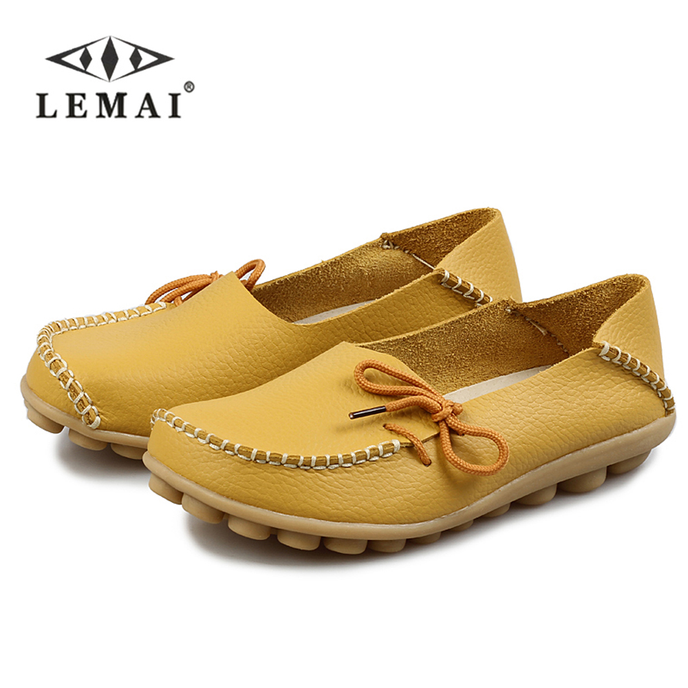 LEMAI Women Shoes Rear Leather Moccasins Mother Soft Leisure Flats Big Size Female Driving Casual Loafers Lightweight Footwear split leather dot men casual shoes moccasins soft bottom brand designer footwear flats loafers comfortable driving shoes rmc 395