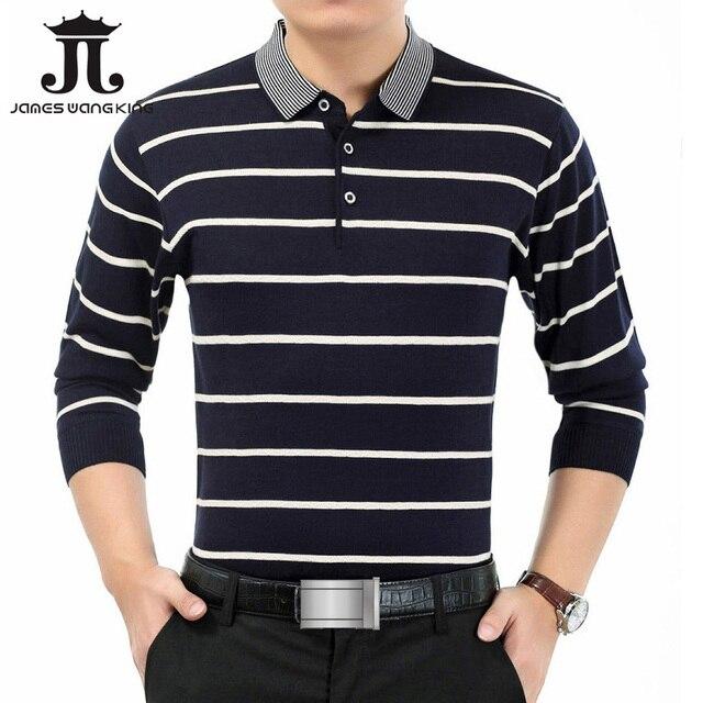 bc4e75803004 Men's POLO Shirt Stripe Business Clothing Full polo shirt for man wool polo  shirts mens band clothing Plus Polos Masculina M-3XL