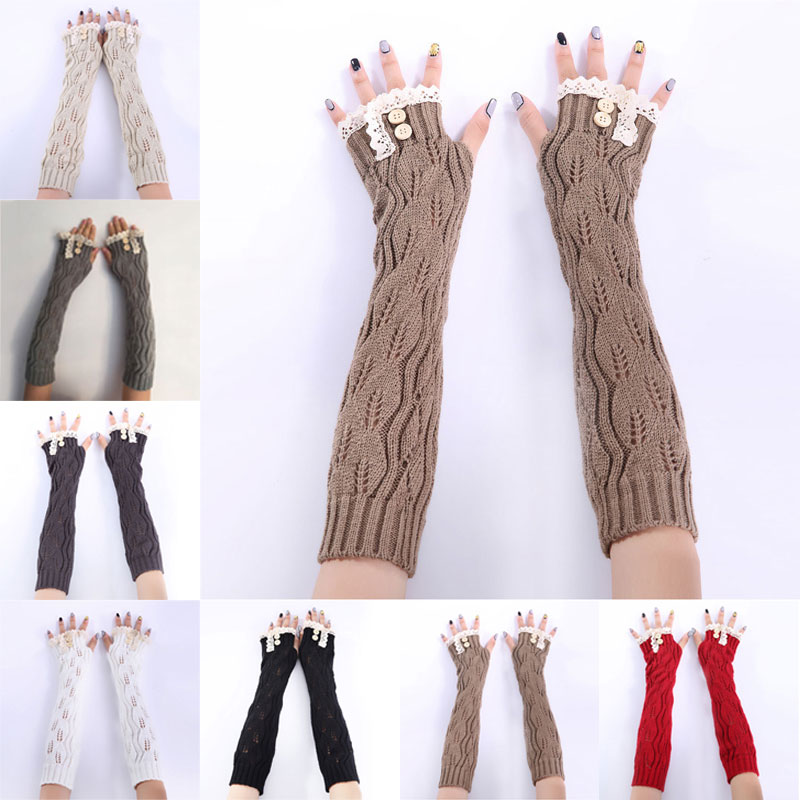 Newly 1pair Fashion Ladies Winter Arm Warmer Fingerless Gloves Lace Button Knitted Long Warm Gloves Mittens For Women  VK-ING