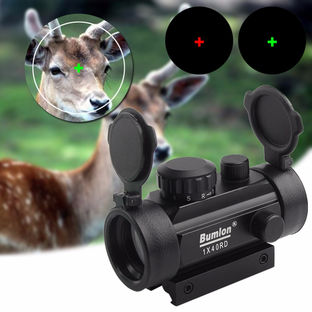 Tactical Holographic 1x40mm Red Green Dot Sight Airsoft Cross Hari Reflex Aiming Device Scope 11 20mm Rail Mount RL5-0024BL