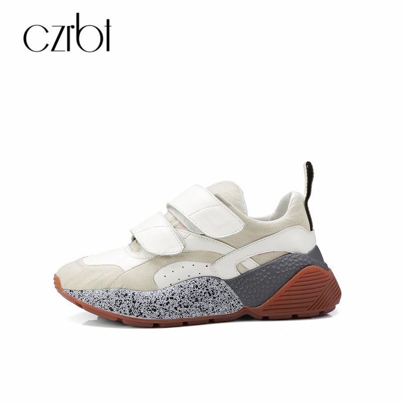 CZRBT Spring Autumn Genuine Leather Women Shoes Flats Platform Casual Hook & Loop Shoes Ladies 35-39 Size Shallow Flats Shoes czrbt oxfard flats genuine leather platform shoes women round toe lace up flat shoes spring autumn black casual shoes size 34 40
