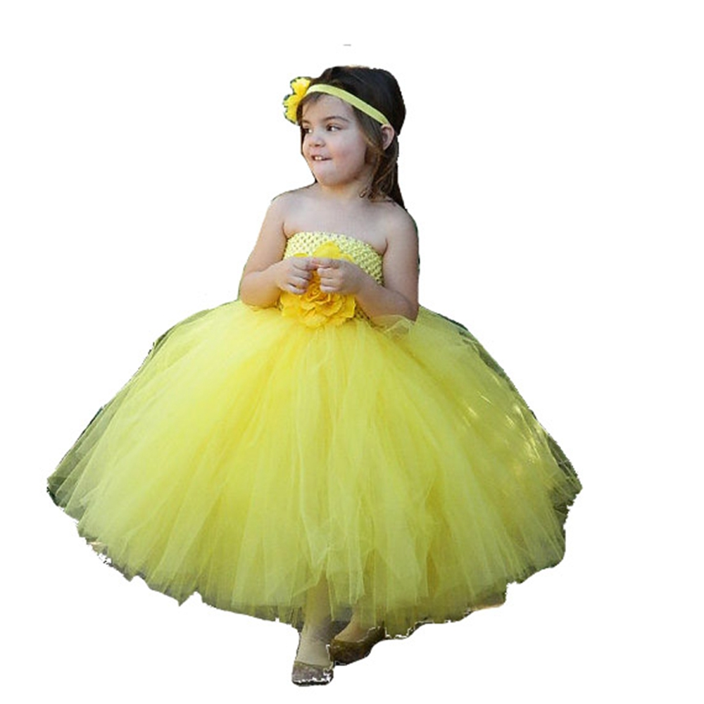 3 Color Flower Girl Dresses For Wedding Pink Blue Yellow Kids