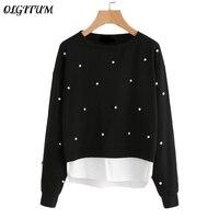 218 New Style Sweatshirt Woman Pearl Beading 2 In 1 Sweatshirt Spring Autumn Women Blouse Black