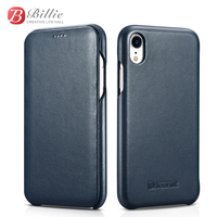 Icarer Brand for iPhone XR Case Genuine Leather Phone cases For iPhone XR cover Curved Edge Luxury Magnetic Closure Folio Cover