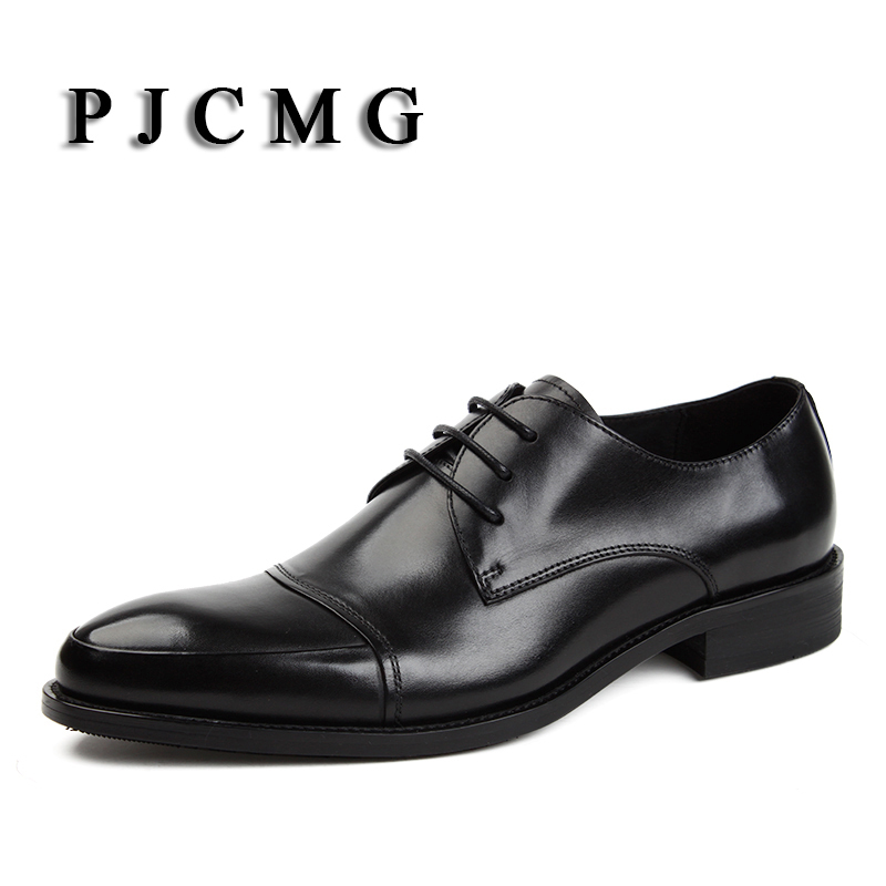 PJCMG Italian Style Spring/Autumn Men's Black/Red Genuine Leather Lace-Up Pointed Toe Dress Business Brand Oxfords Shoes For Men pjcmg spring autumn men s genuine leather pointed toe slip on flats dress oxfords business office wedding for men flats shoes