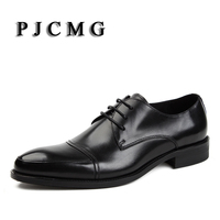 Italian Style Spring Autumn Men S Black Red Genuine Leather Lace Up Pointed Toe Dress Business