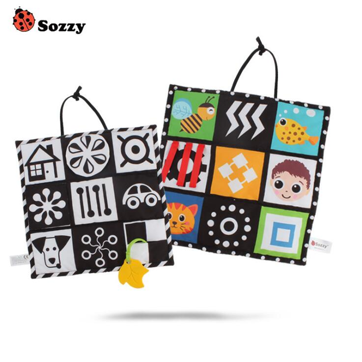 Sozzy Black And White Colorful Double-side Baby Cloth Quiet Book Soft Infant Early Educational Stroller Rattle Toys For Newborn