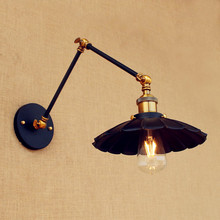 Black Retro Loft Vintage Wall Lights Swing Long Arm Light Industrial Wall Lamp LED Edison Sconce Applique Lamparas De Pared golden retro vintage wall lamp with 2 lights for home adjustable arm industrial loft edison wall sconce arandela wandlamp